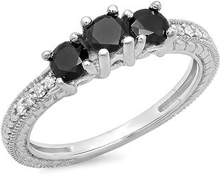G-H,I2-I3 1//20 cttw, 3 Diamond Promise Ring in 10K White Gold Size-12.75