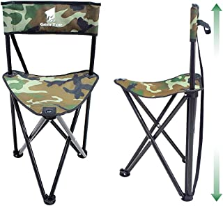 Geertop Portable Folding Tripod Stool with Backrest Lightweight Outdoor Hunting Chair Boat Cabin Seating Quick Seat Slacke...