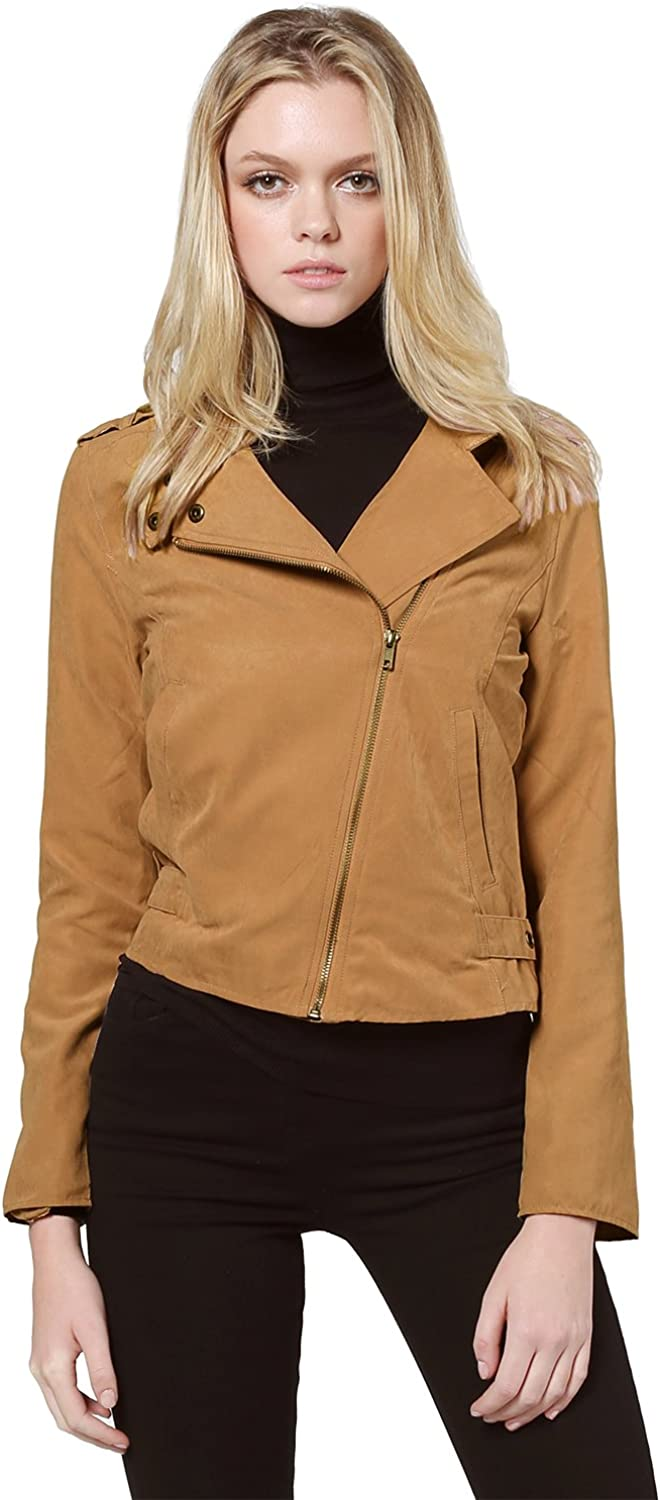 Awesome21 Women's Casual Lightweight Woven Zip Up Moto Biker Jacket