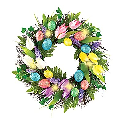 Lighted Easter Egg and Tulip Wreath, Polyester Rattan