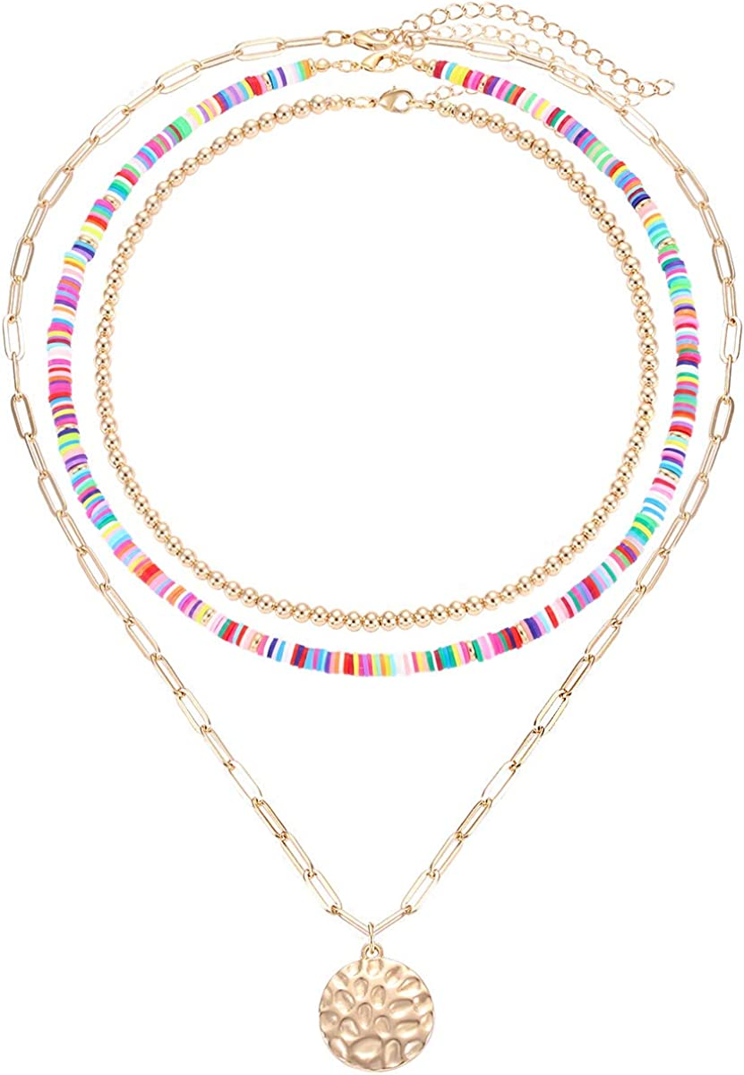 XOCARTIGE Rainbow 100% quality warranty! Surfer Heishi Necklace Spring new work one after another Stackable for Women Bal