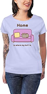 Pusheen T Shirt Home Logo Official Womens Junior Fit Blue Size M