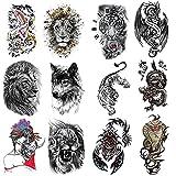 12 Pegatinas De Tatuaje Temporal De Medio Brazo Para Hombres Y Mujeres (1)