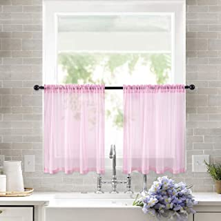 MIULEE 2 Panels Kitchen Tiers Half Window Sheer Curtains Rod Pocket Semitranslucent Voile Drapes for Kitchen Bathroom Small Windows 29 by 24 Inch Pink