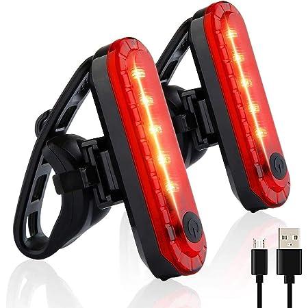 Luz Trasera para Bicicleta, LETTURE 2PACK Luz de Destello de Seguridad con 4 Modos de iluminación USB Recargable Ultra Brillante LED Rojo Fácil de Instalar de Alta Intensidad para Adecuado para Cascos, Bicicletas, Scooters