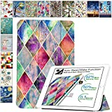 DuraSafe Cases for Latest iPad 10.2' 8/7 Generation A2270 A2428 A2429 A2197 A2198 A2200 Smart Tri Fold Lightweight Printed Cover with Soft Silicone Transparent Back - Diamond Grid