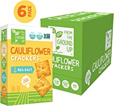 Real Food From the Ground Up Cauliflower Crackers - 6 Pack (Sea Salt, Crackers)