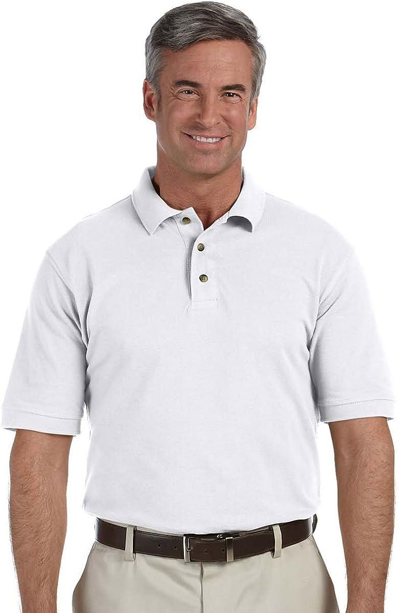 Harriton Tall Horn Style Buttons Pique Polo Shirt