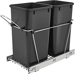 Rev-A-Shelf RV-15KD-18C S Double 27 Quart Pull Out Waste Bin Container, Black