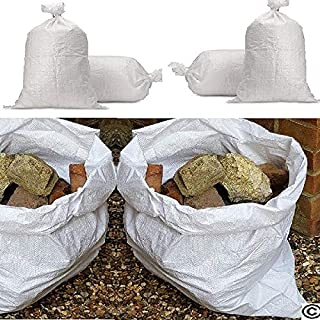 "White Woven Polypropylene Rubble Builder Sacks Bags 20"" x 30""- 50cm X 75cm **100 Pack**"