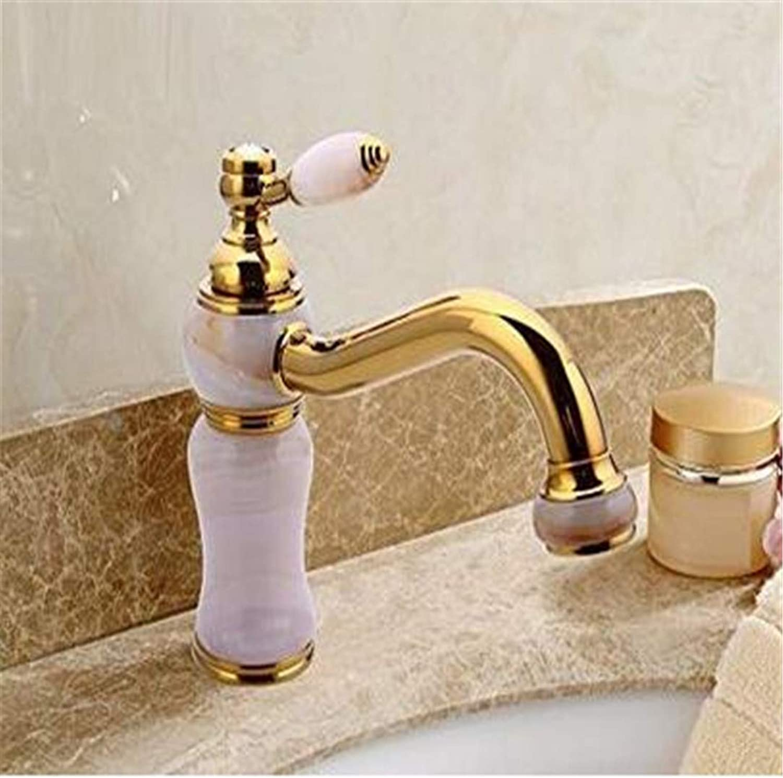 Double Handlefaucets Basin Mixer Single Handle Copper Hot and Cold Mixer Faucet gold Plating Basin Faucet