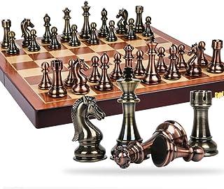 Luckyw Exklusiva prydnader schack överdimensionerade schackpjäs fällbar trä schackbräda pedagogisk leksak spel