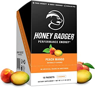 Honey Badger Vegan Keto Pre Workout | Peach Mango | Natural Paleo Sugar Free Plant-Based Energy Supplement Nootropics Amino Acids Nitric Oxide Sucralose Free + Non-Habit Forming |10 Servings
