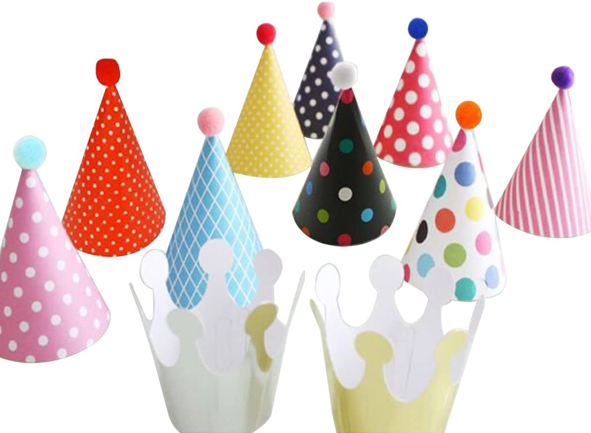 Wrapables Kids Mini-Sized Party Hats New York Mall with and fo Poms Max 84% OFF Crowns Pom
