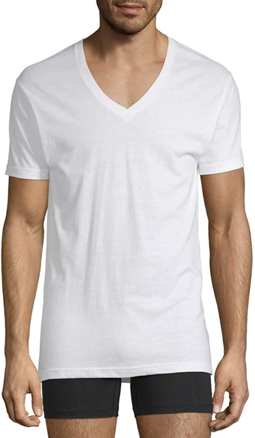 Stafford Mens V-Neck T-Shirts | Tall/X Tall Tagless White Blended | 4 Pack
