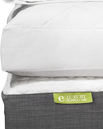 ExceptionalSheets Quilted Deluxe Blended Feather and Down Bed/Mattress Topper - 233 Thread Count,  Queen
