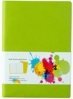 LABON'S Journal Notebook A4/A5/A6/ Ruled Diary Colored Edges PU Leather Softcover (A5,Green)