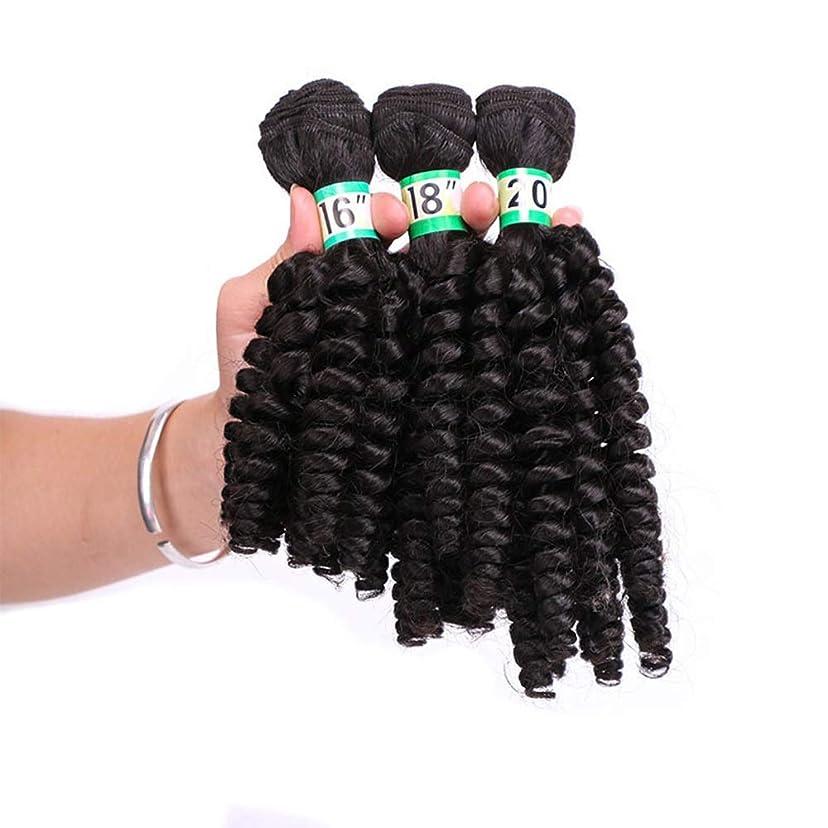 分配します乳白色葬儀Yrattary Funmi巻き毛3束 - 2#黒髪束ゆるい巻き織りヘアエクステンション70g / pcフルヘッドコンポジットヘアレースかつらロールプレイングかつら長くて短い女性自然 (色 : 黒, サイズ : 20