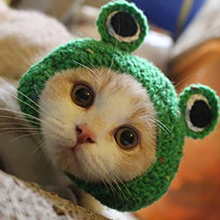 Potelin Adorable Pet Funny Hat Cartoon Frog Shape Pet Cap Weaving Puppy Cat Hat Pet Grooming Supplies for Everyday Decoration Christmas Halloween Decoration Use 1PCS
