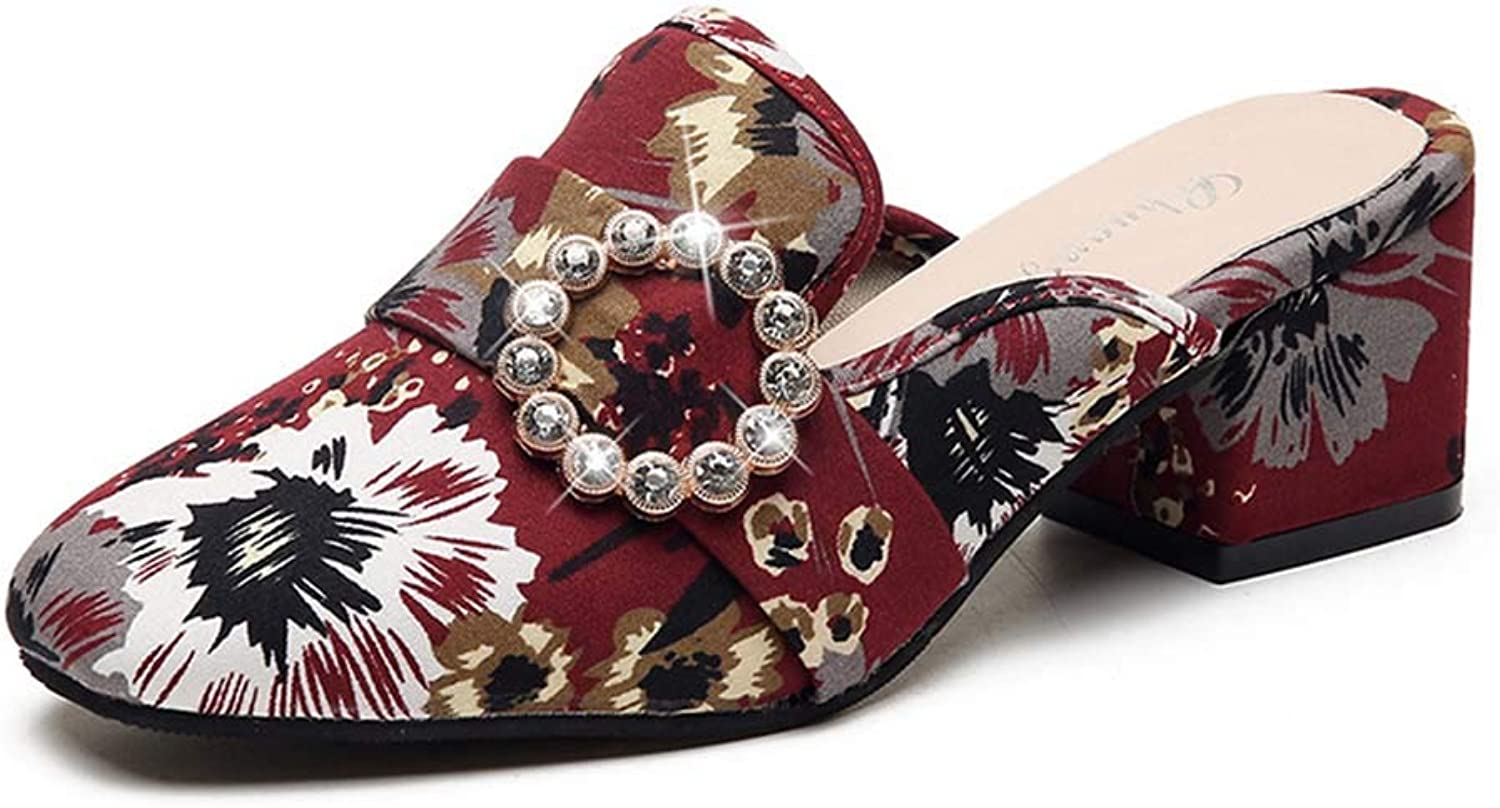 Women's Sandals Cloth Bread Head Thick with high Heel Half Slippers Set feet Rhinestones Flowers Sandals and Slippers Summer