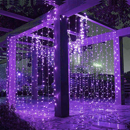 LIIDA Curtain String Lights Window Twinkle Lights 9.8 x 9.8ft Icicle Lights with 8 Modes for Holiday Party Background Wall Wedding Decorations (Purple)