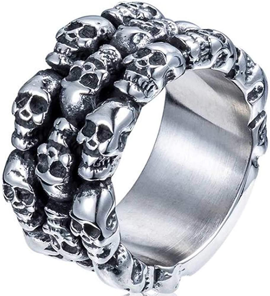 Jude Jewelers Stainless Steel Retro Vintage Gothic Skull Halloween Cocktail Party Biker Ring