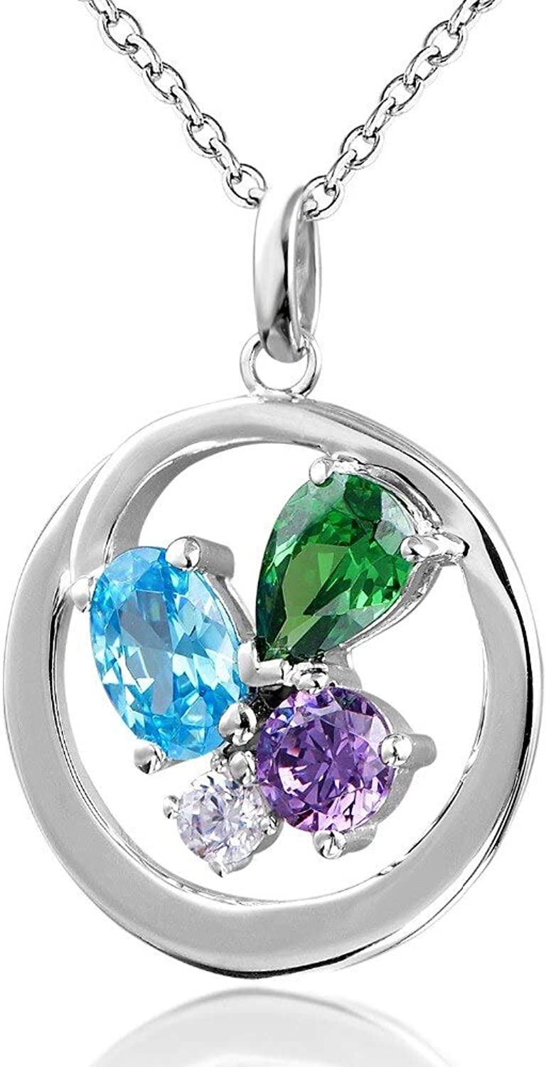 925 Sterling Silver Necklace 1.9 Carat Flower AAA Cubic Zircon Necklace for Women Round Pendant Necklaces Jewelry