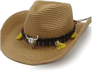 Summer Sun Hat Raffia Hat Cowboy Hat Ladies Casual Leather Belt Cow Head Shell Straw Hat Panama Hat Men` TuanTuan (Color : Coffee, Size : 58cm)