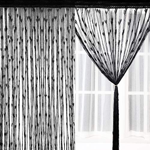 Norme 2 piezas 100 x 200 centímetros con purpurina, paneles de cortina de algodón para ventana o mosquitera, algodón, negro, 100 x 200 cm
