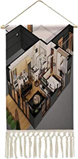 C COABALLA 3D Render for Home Floor Plan from top House,Cotton Wall Art Room Décor 3Dimensional for Bedroom Decor Ready to...