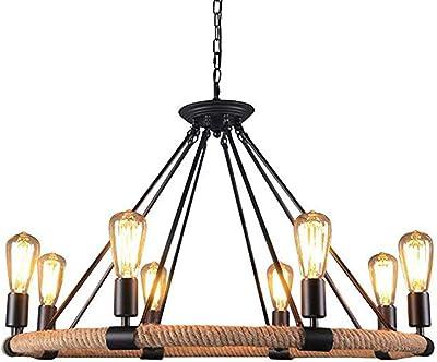 lámparas de suspensión de Techo De cuerda de cáñamo Retro ...