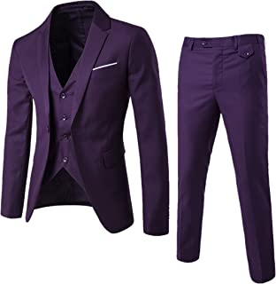 Men's Suit Slim Fit One Button 3-Piece Suit Blazer Dress Business Wedding Party Jacket Vest & Pants