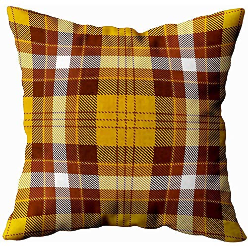 July kussenslopen tartan bruin oranje wit plaid flanel achtergrond trendy tegels wallpapers
