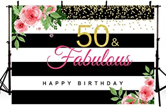 MEHOFOTO Woman 50 and Fabulous Photo Studio Booth Background Black and White Stripes Pink Floral Gold Glitter Happy 50th Birthday Party Banner Backdrops for Photography 8x6ft