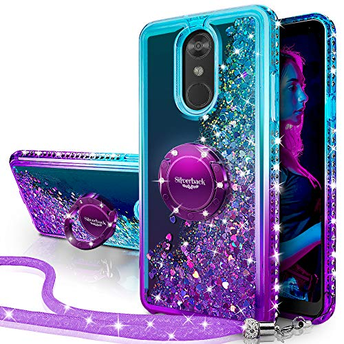 Silverback LG Stylo 4 Case,LG Stylo 4 Plus Case,LG Q Stylus 4, Moving Liquid Holographic Sparkle Glitter Case with Kickstand, Bling Diamond Bumper with Ring Slim Protective LG Stylo 4 -Purple