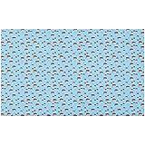 Marlon Kitty Felpudo Woodland, Hongos con Estampados de Pata de Perro con Estampado de Flores pequeñas sobre Fondo Azul, tapete