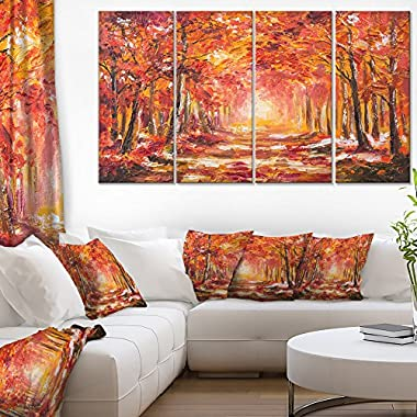 Designart Autumn Forest in Red Shade Landscape on Canvas Art Wall Photgraphy Artwork Print