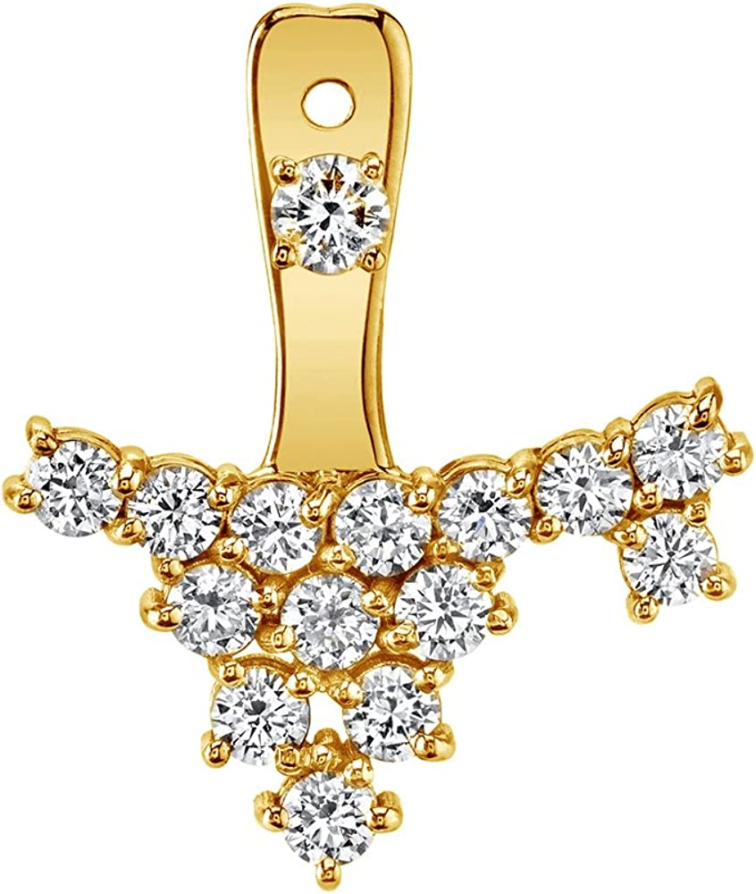 10K Solid Gold White Cubic Zirconia Cluster Jacket With Stud Single Earring