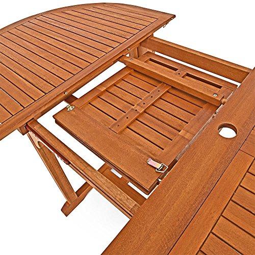 Deuba Sitzgruppe Moreno 8+1 FSC®-zertifiziertes Eukalyptusholz klappbar 9-TLG Tisch Sitzgarnitur Holz Gartenmöbel Garten Set - 4