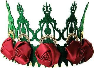 Seehhaaii Mujeres Navidad Vintage Tiara Crown Satin Rose Flower Wreath Cosplay Diadema