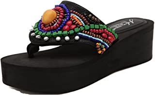 TIANRUIクラウンレディースとレディース手ビーズ刺繍Flatsプラットフォームスリッパサンダル靴