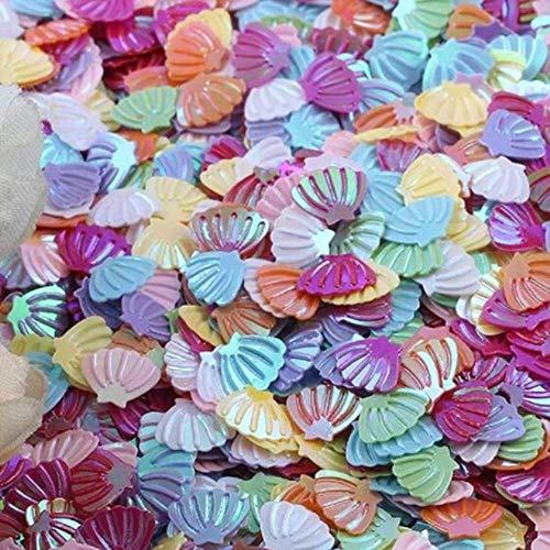 ALENAOO Sea Shell Pailletten 7mm PVC Loose Pailletten Glitter für Nail Art Maniküre Nähen Hochzeitsdekor Confetti Lentejuelas 20g, ab Mix