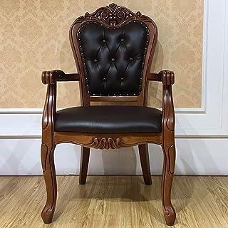 LHQ-HQ Silla de Comedor Silla de Cuero Sillón de café Americana de Madera sólida Tallada Asamblea Simple 2-Pack for sillas de Cocina (Inicio Color: Marrón, tamaño: 60x52x106cm)