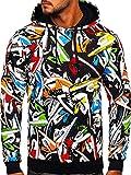 BOLF Hombre Sudadera con Capucha Pulóver Blusa Sweater Hoodie Jersey de Algodón Estampado Sweatshirt Outdoor Deporte Entrenamiento Básico Ocio Estilo Deportivo 141002 Multicolor S [1A1]