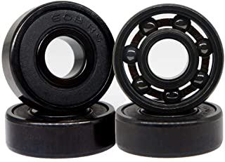 Z-FIRST High Speed 608RS Hybrid Black Ceramic Bearings for Longboard, Inline Skates, Skateboard, Scooters, Skateboard and More (Pack of 4, Black)