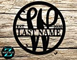 Personalized Metal Monogram Sign. Wedding Gift. Family Name Sign. Outdoor Name Sign. Anniversary. Last Name Sign. Metal Sign. Front Door.