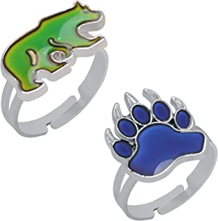 2 Pcs Bear and Paw Color Change Ring Adjustable Size Mood Ring for Kids Girls Boys