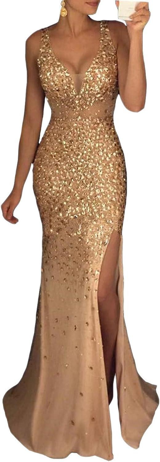 MARSEN Women's Beaded Side Slit Prom Gown V Neck Backless Long Evening Dress