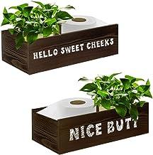 Nice Butt Bathroom Decor Box, Toilet Paper Holder Basket, Farmhouse Rustic Wood Box Crate Storage Bin, Funny Home Decor fo...