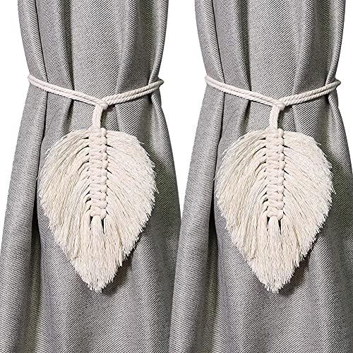 2Pack Curtain Tiebacks Handmade Holdbacks - Farmhouse Curtain Tie Back Holder by Hand-Woven Cotton Rope, Bohemian Home Decoration Drapery Holdback (Leaf Beige, 2)…